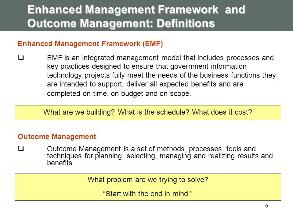 The Outcome Management process in detail StageKey Activities 0.