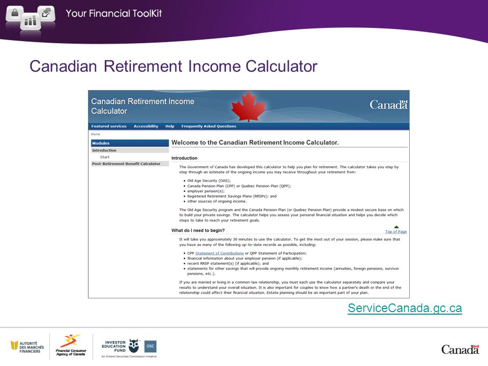 Canadian Retirement Income Calculator ServiceCanada.gc.ca