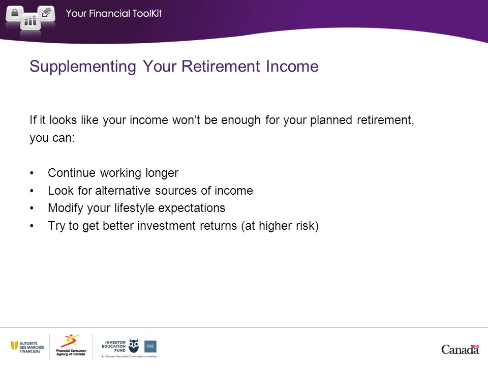 Supplementing Your Retirement Income If it looks like your income won't be enough for your planned retirement, you can: Continue working longer Look f