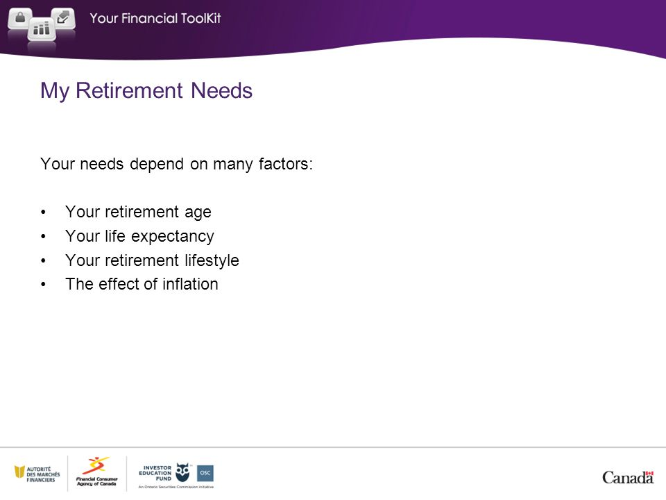My Retirement Needs Your needs depend on many factors: Your retirement age Your life expectancy Your retirement lifestyle The effect of inflation