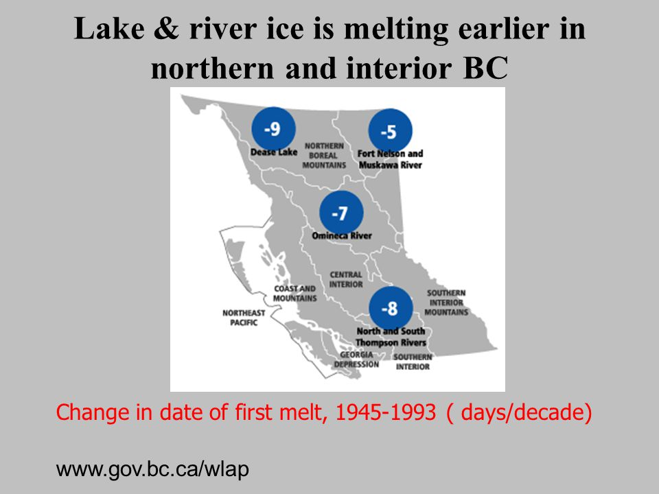Lake & river ice is melting earlier in northern and interior BC Change in date of first melt, 1945-1993 ( days/decade) Source: BC Ministry of Water, L