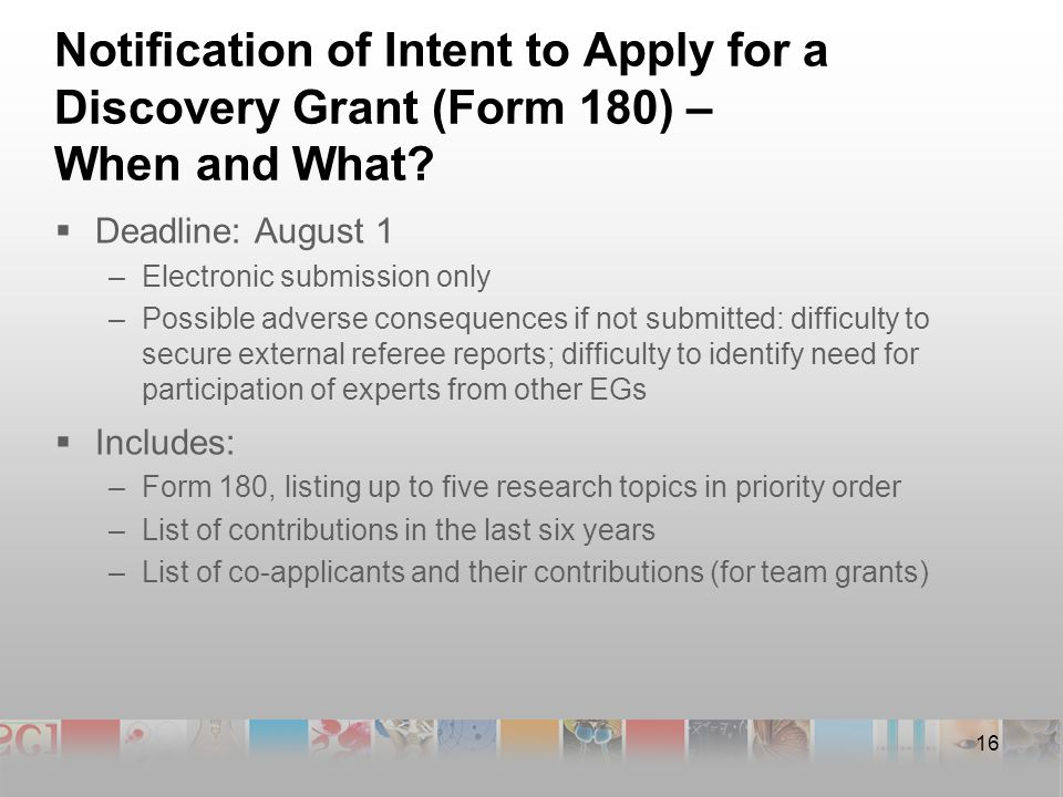 16 Notification of Intent to Apply for a Discovery Grant (Form 180) – When and What.