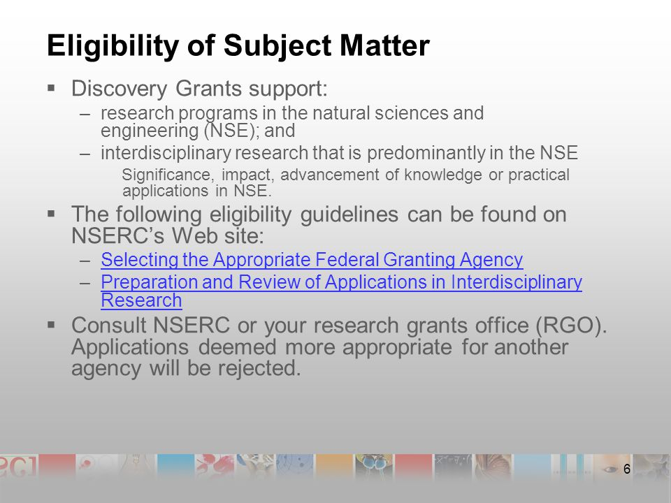 17 Submitting a Discovery Grant Application A full Discovery Grant application includes:  an Application for a Grant (Form 101), with supporting documentation;*  a Personal Data Form (Form 100) for the applicant and all co-applicants;  samples of research contributions (e.g., reprints, pre- prints, thesis chapters, manuscripts, patents, technical reports, etc.); and  all required appendices.