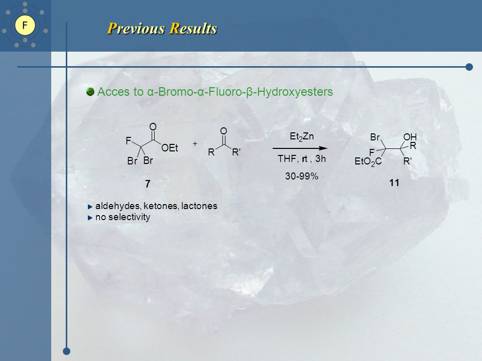 Previous Results Previous Results Acces to α-Bromo-α-Fluoro-β-Hydroxyesters aldehydes, ketones, lactones no selectivity F Br Br OEt O 7 R R O OH R R Br EtO 2 C F 11 Et 2 Zn THF, rrt, 3h 30-99%