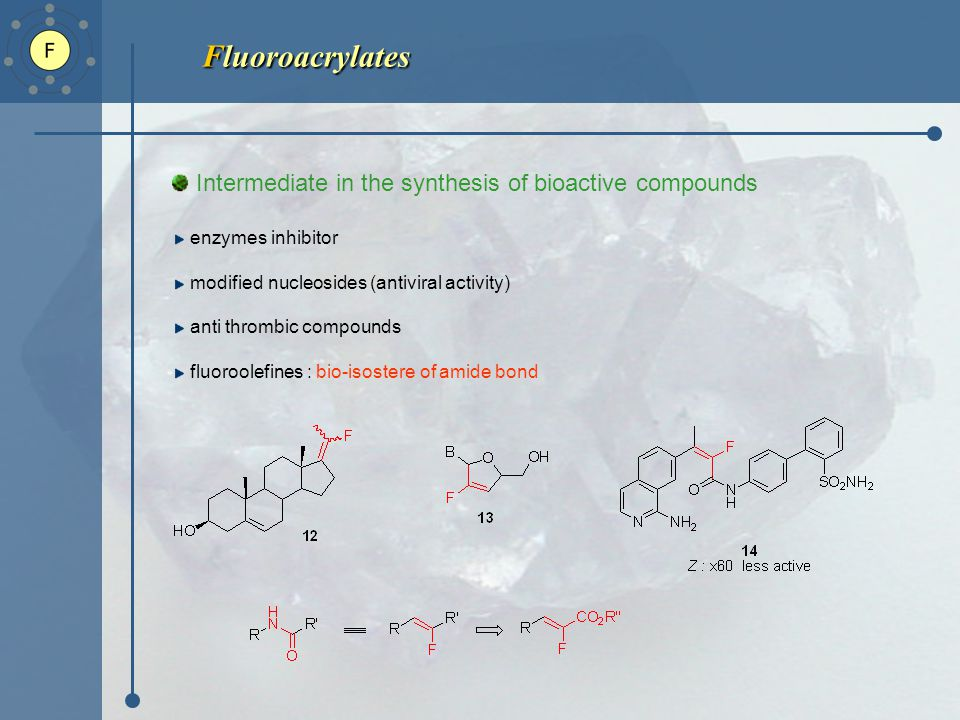 Fluoroacrylates Intermediate in the synthesis of bioactive compounds enzymes inhibitor modified nucleosides (antiviral activity) anti thrombic compounds fluoroolefines : bio-isostere of amide bond