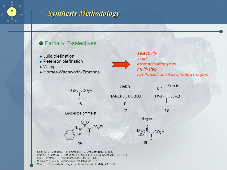 Synthesis Methodology Partially Z-selectives Julia olefination Peterson olefination Wittig Horner-Wadsworth-Emmons Chevrie, D.