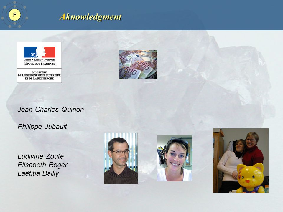 Aknowledgment Jean-Charles Quirion Philippe Jubault Ludivine Zoute Elisabeth Roger Laëtitia Bailly