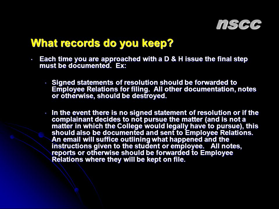 nscc What records do you keep.