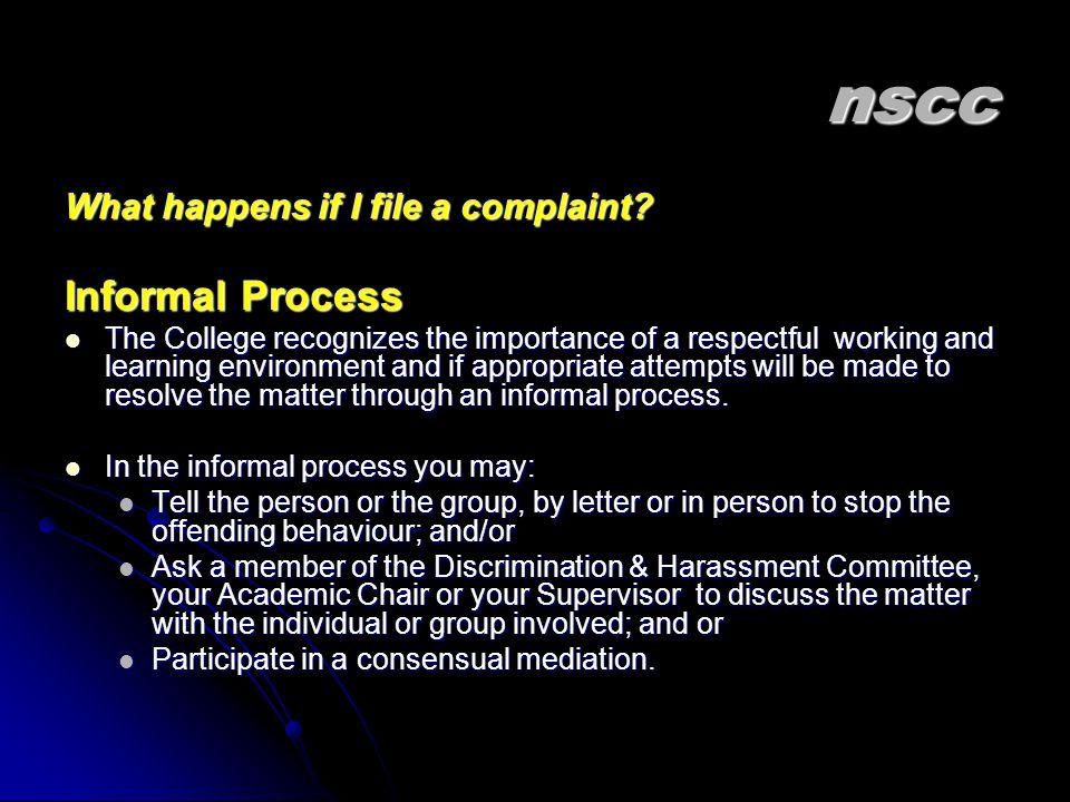 nscc What happens if I file a complaint.