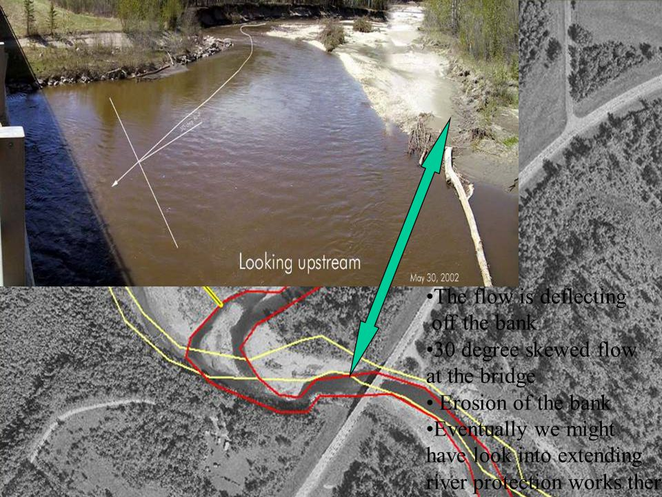 The flow is deflecting off the bank 30 degree skewed flow at the bridge Erosion of the bank Eventually we might have look into extending river protection works there