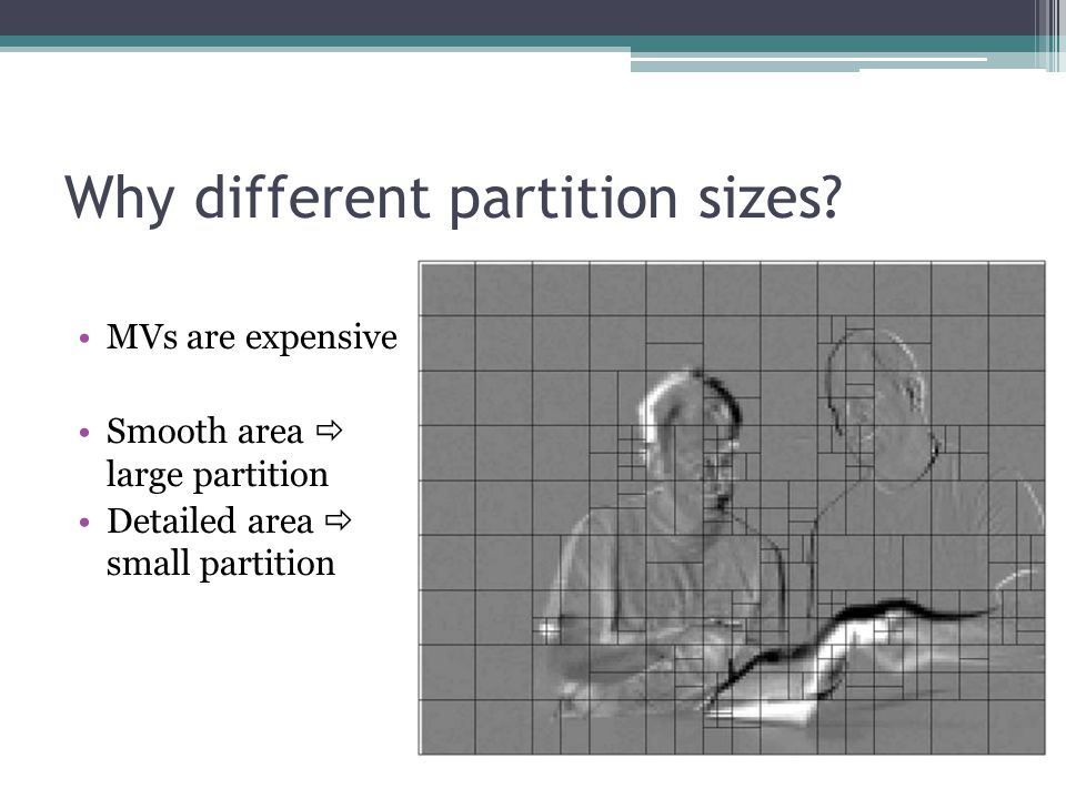 Why different partition sizes? MVs are expensive Smooth area  large partition Detailed area  small partition
