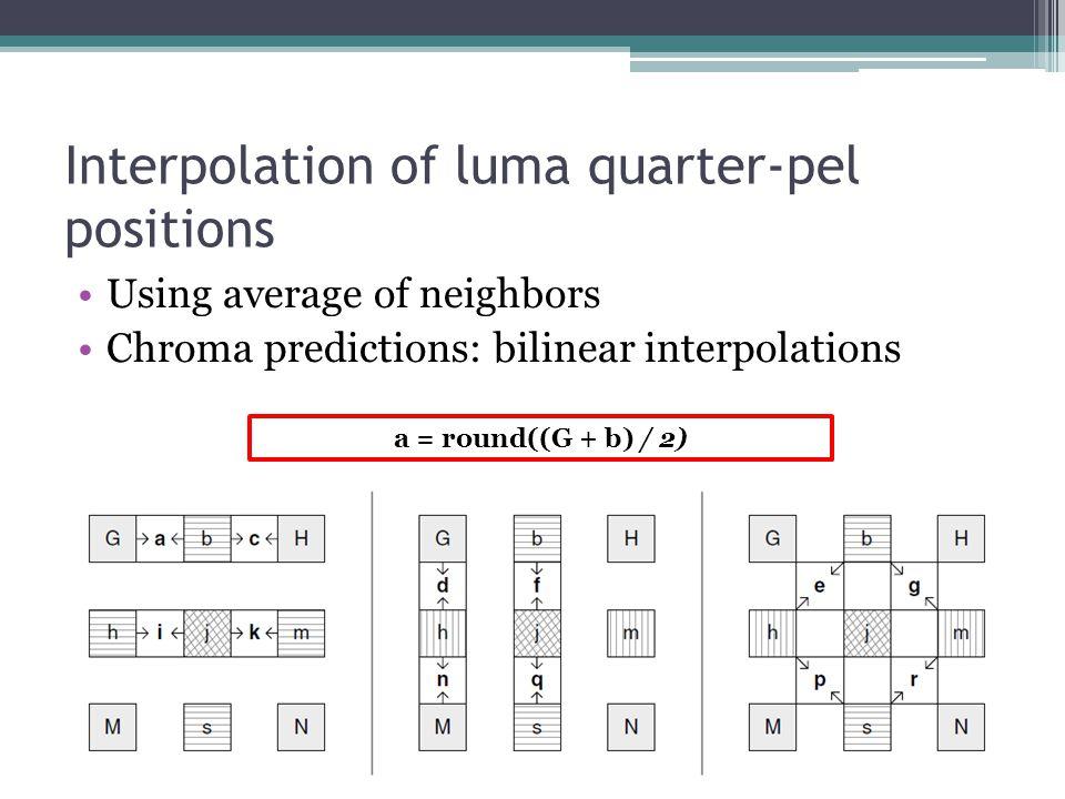 Interpolation of luma quarter-pel positions Using average of neighbors Chroma predictions: bilinear interpolations a = round((G + b) / 2)