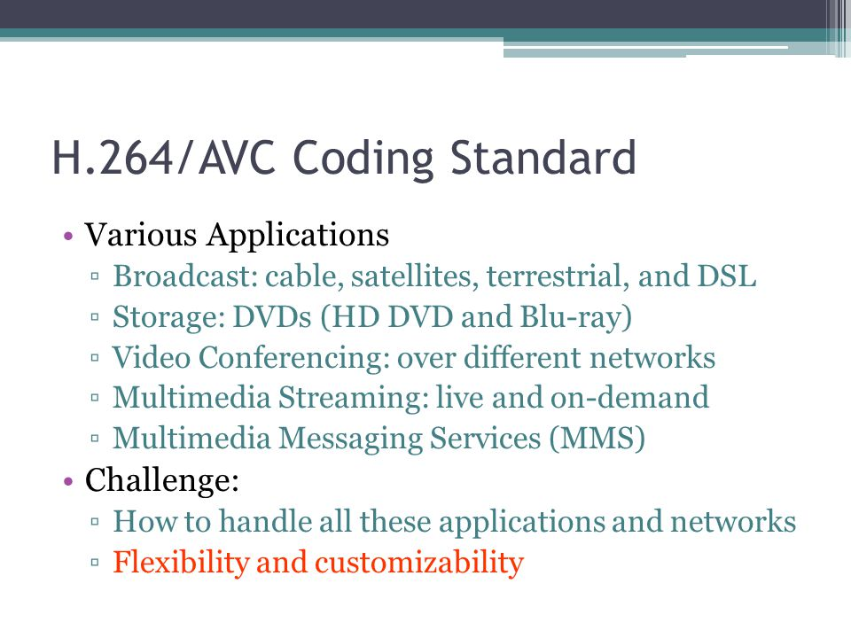 H.264/AVC Coding Standard Various Applications ▫Broadcast: cable, satellites, terrestrial, and DSL ▫Storage: DVDs (HD DVD and Blu-ray) ▫Video Conferen
