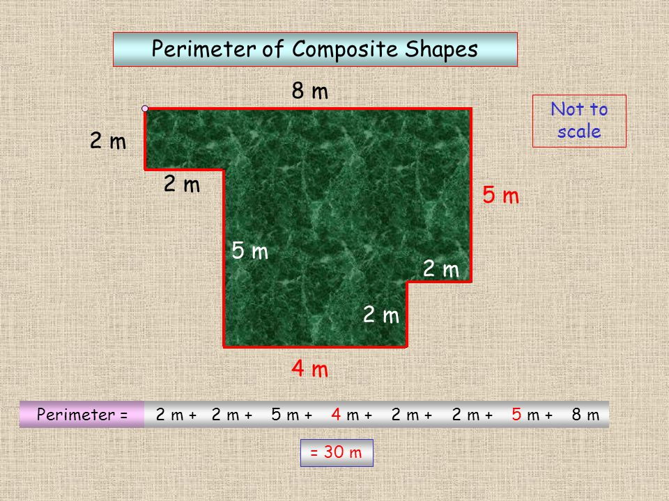 4m 3m Diagrams Not to scale Perimeter of Composite Shapes ? ? ? Perimeter = 4 m + 7 m +3m + 1m += 22m 4m 3m 1m