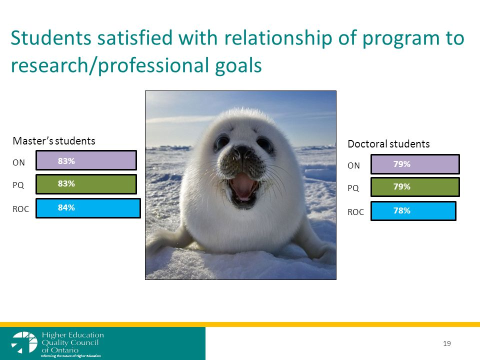 Students satisfied with relationship of program to research/professional goals 19 Informing the Future of Higher Education ON PQ ROC 83% 84% Master's