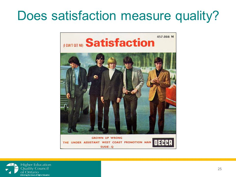 Does satisfaction measure quality? 25 Informing the Future of Higher Education
