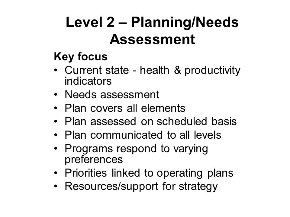 Level 2 – Planning/Needs Assessment Key focus Current state - health & productivity indicators Needs assessment Plan covers all elements Plan assessed on scheduled basis Plan communicated to all levels Programs respond to varying preferences Priorities linked to operating plans Resources/support for strategy