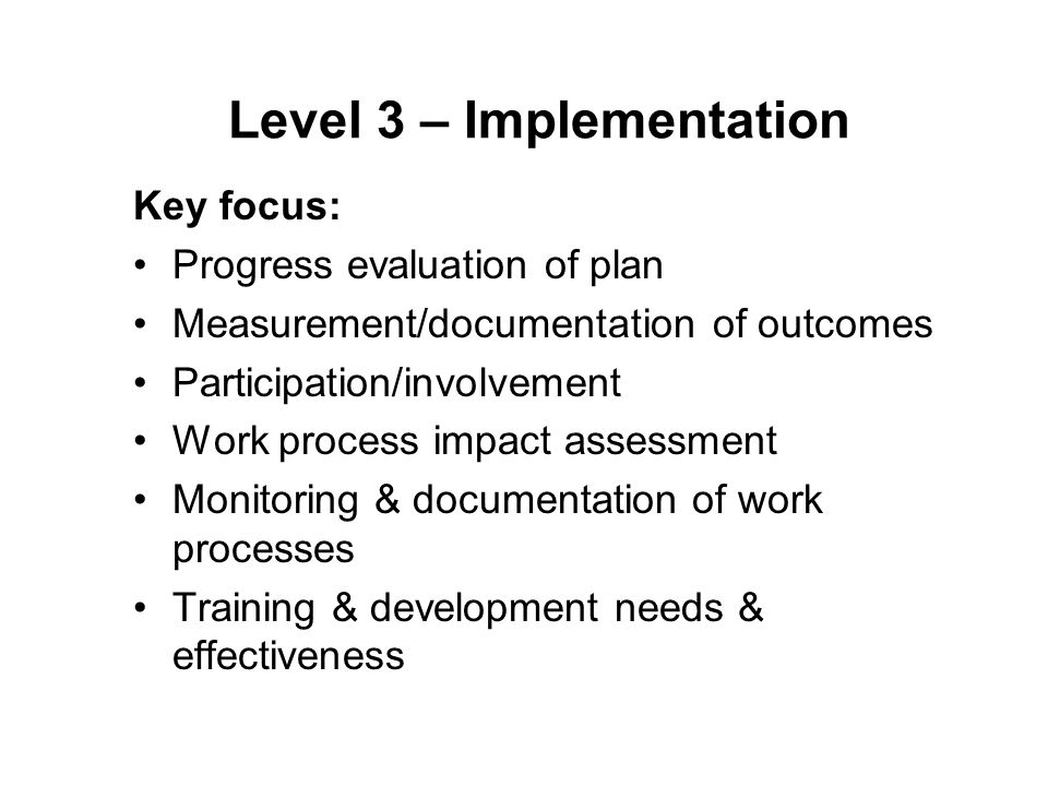 Level 3 – Implementation Key focus: Progress evaluation of plan Measurement/documentation of outcomes Participation/involvement Work process impact assessment Monitoring & documentation of work processes Training & development needs & effectiveness