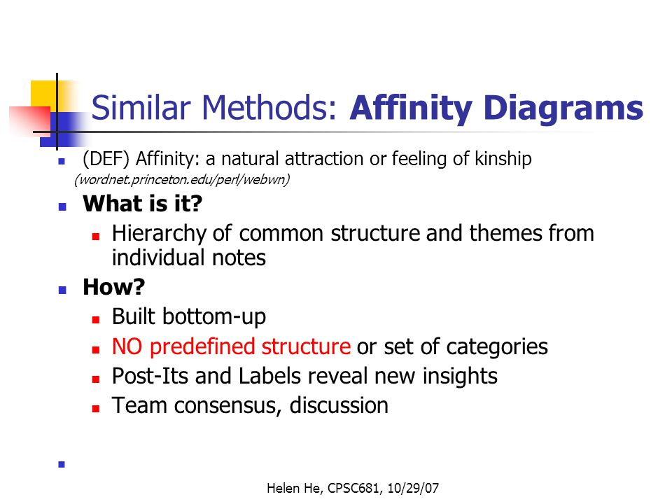 Helen He, CPSC681, 10/29/07 Similar Methods: Affinity Diagrams (DEF) Affinity: a natural attraction or feeling of kinship (wordnet.princeton.edu/perl/webwn) What is it.