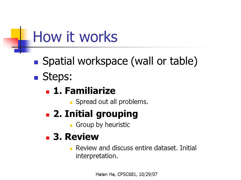 Helen He, CPSC681, 10/29/07 How it works Spatial workspace (wall or table) Steps: 1.