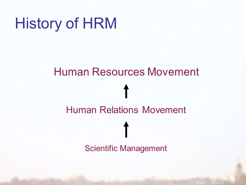 07 Winter472.422 History of HRM Human Resources Movement Human Relations Movement Scientific Management