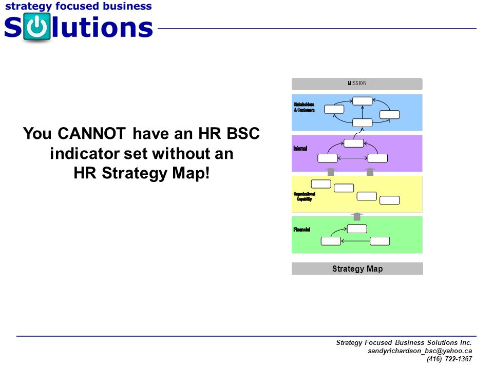 Strategy Focused Business Solutions Inc. sandyrichardson_bsc@yahoo.ca (416) 722-1367 You CANNOT have an HR BSC indicator set without an HR Strategy Ma