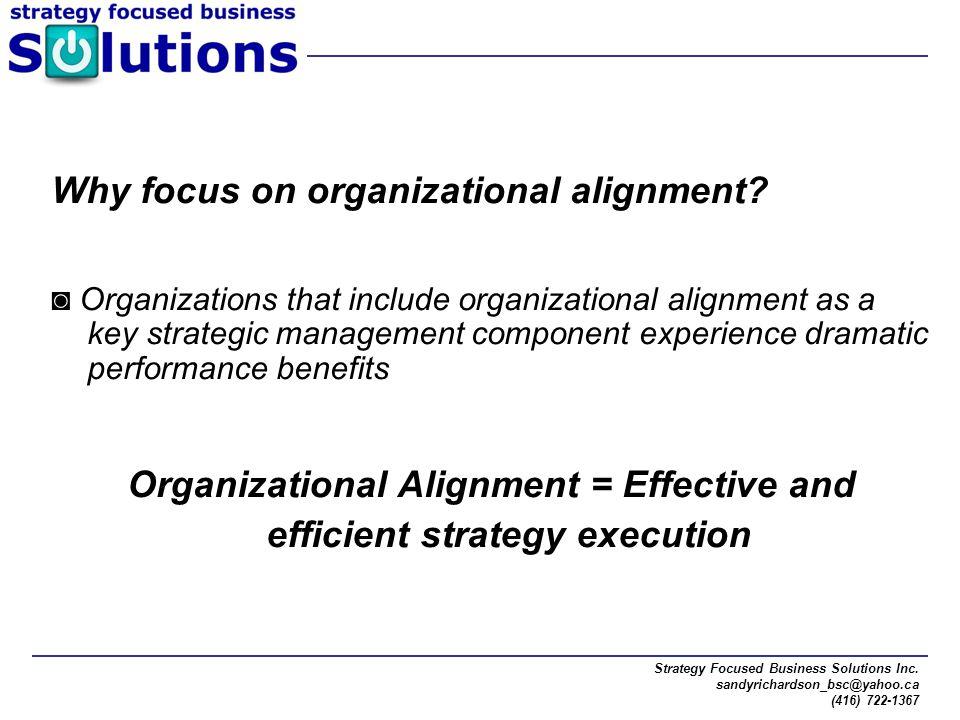 Strategy Focused Business Solutions Inc. sandyrichardson_bsc@yahoo.ca (416) 722-1367 Why focus on organizational alignment? ◙ Organizations that inclu