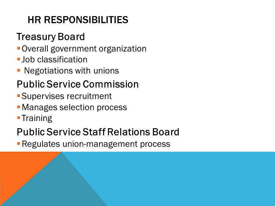 HR RESPONSIBILITIES Treasury Board  Overall government organization  Job classification  Negotiations with unions Public Service Commission  Supervises recruitment  Manages selection process  Training Public Service Staff Relations Board  Regulates union-management process