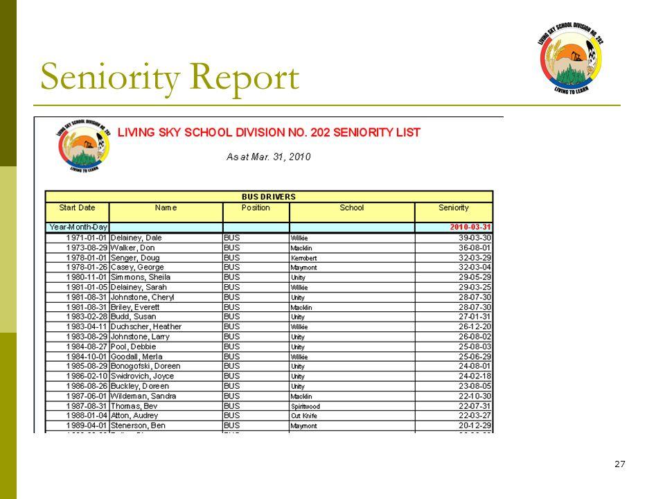27 Seniority Report