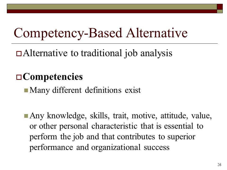 Competency-Based Alternative  Alternative to traditional job analysis  Competencies Many different definitions exist Any knowledge, skills, trait, m