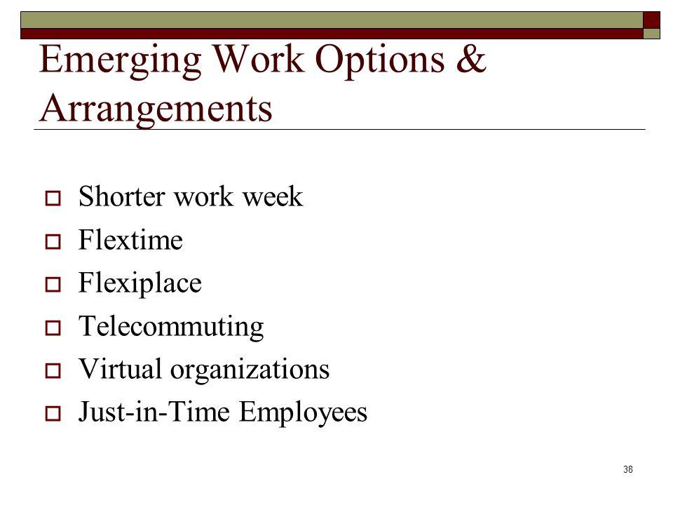 Emerging Work Options & Arrangements  Shorter work week  Flextime  Flexiplace  Telecommuting  Virtual organizations  Just-in-Time Employees 38