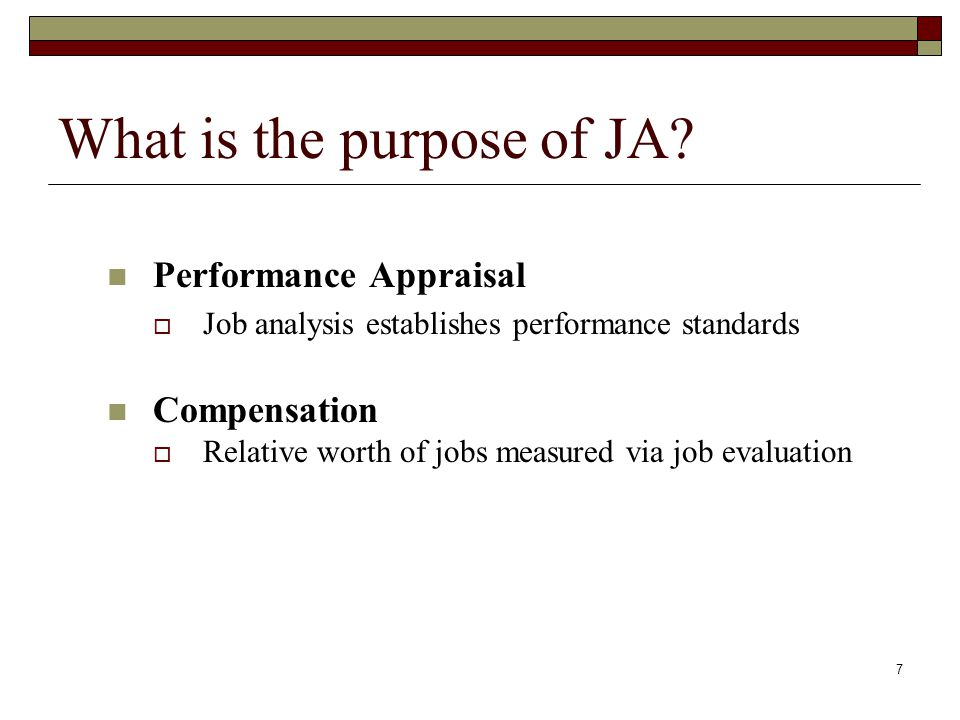 What is the purpose of JA.