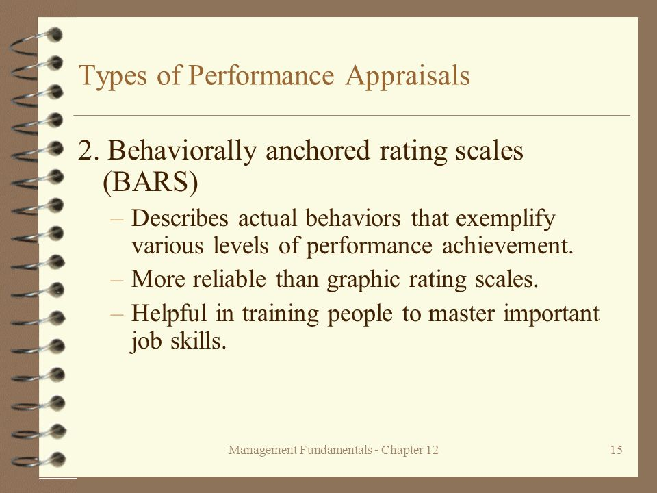 Management Fundamentals - Chapter 1215 Types of Performance Appraisals 2.