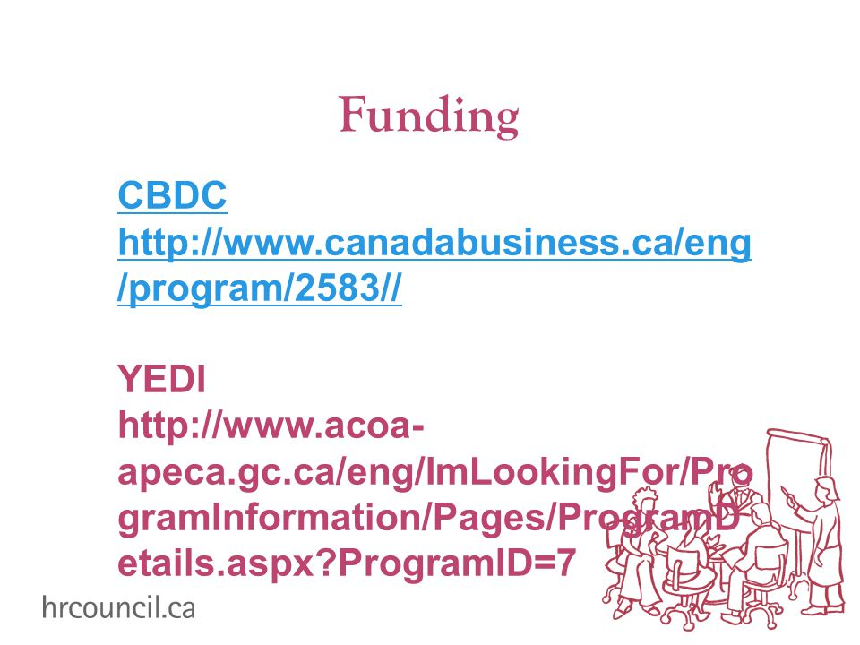 Funding CBDC   /program/2583// YEDI   apeca.gc.ca/eng/ImLookingFor/Pro gramInformation/Pages/ProgramD etails.aspx ProgramID=7