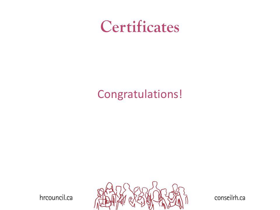 Certificates Congratulations!