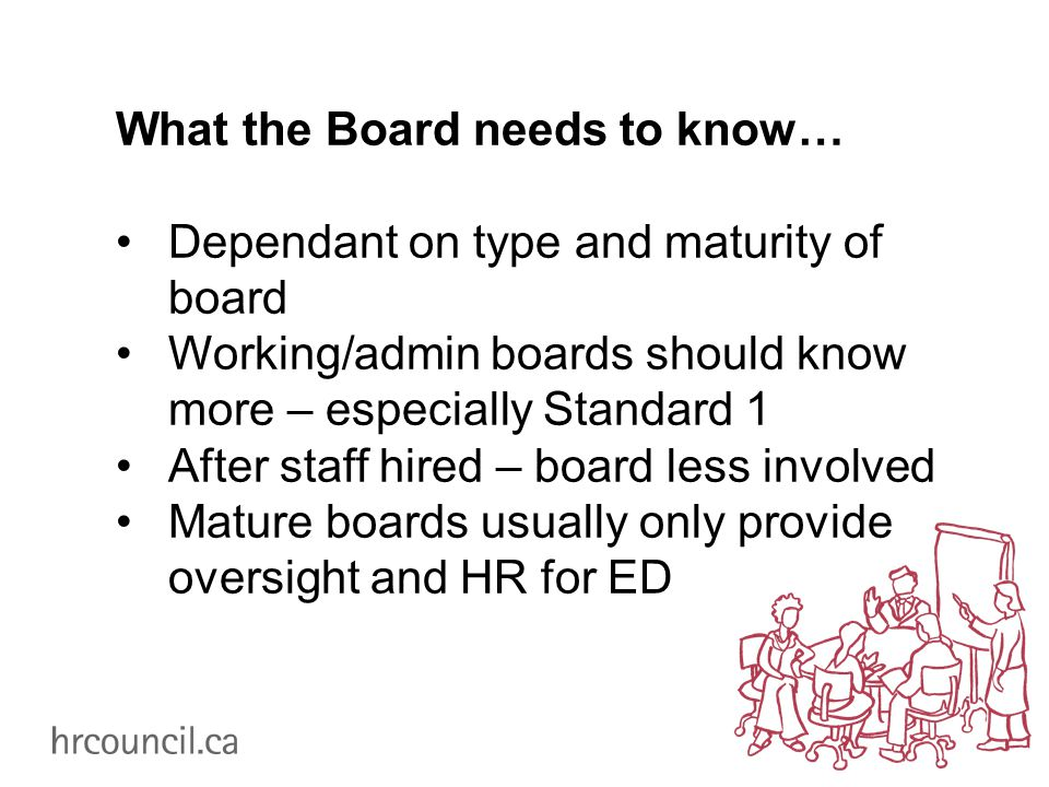 What the Board needs to know… Dependant on type and maturity of board Working/admin boards should know more – especially Standard 1 After staff hired – board less involved Mature boards usually only provide oversight and HR for ED