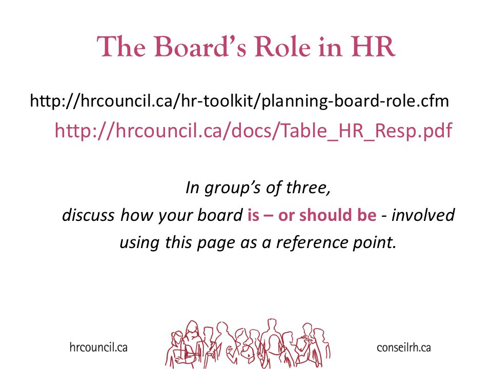 The Board's Role in HR http://hrcouncil.ca/hr-toolkit/planning-board-role.cfm http://hrcouncil.ca/docs/Table_HR_Resp.pdf In group's of three, discuss how your board is – or should be - involved using this page as a reference point.