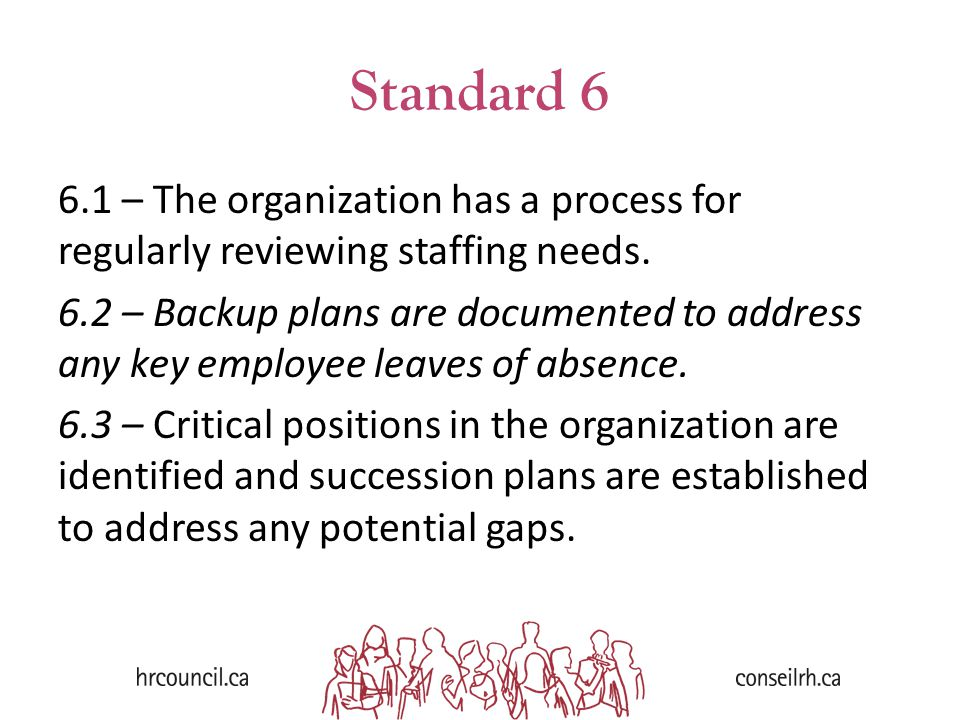 Standard 6 6.1 – The organization has a process for regularly reviewing staffing needs. 6.2 – Backup plans are documented to address any key employee