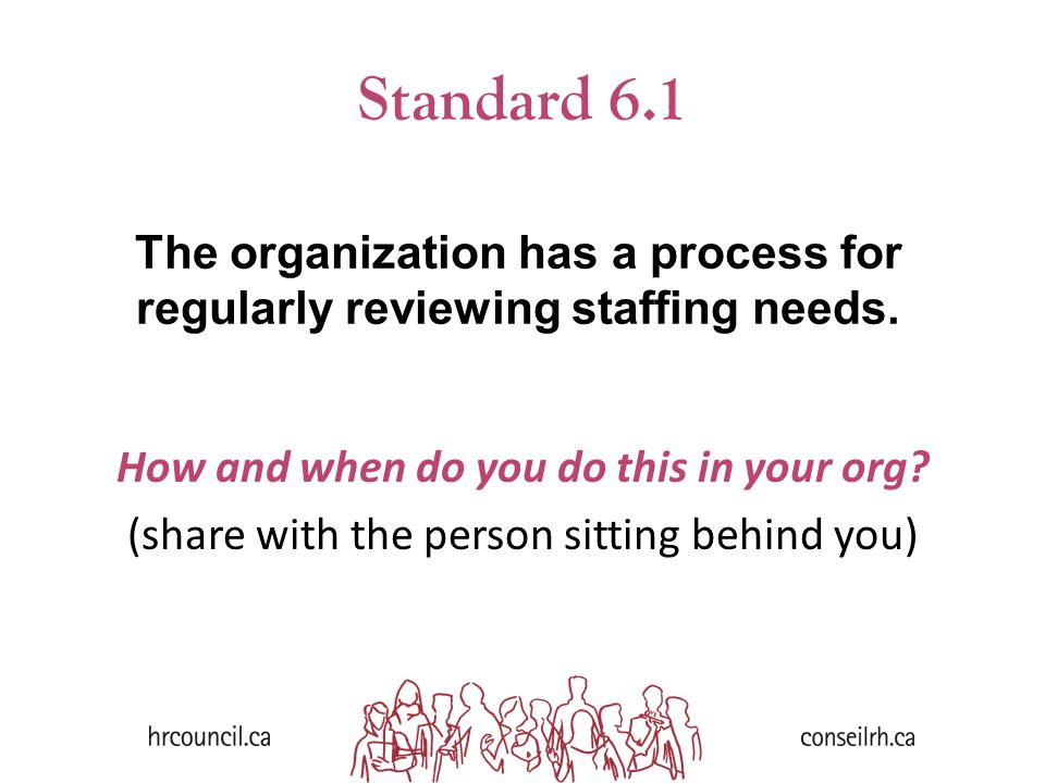 Standard 6.1 How and when do you do this in your org? (share with the person sitting behind you) The organization has a process for regularly reviewin