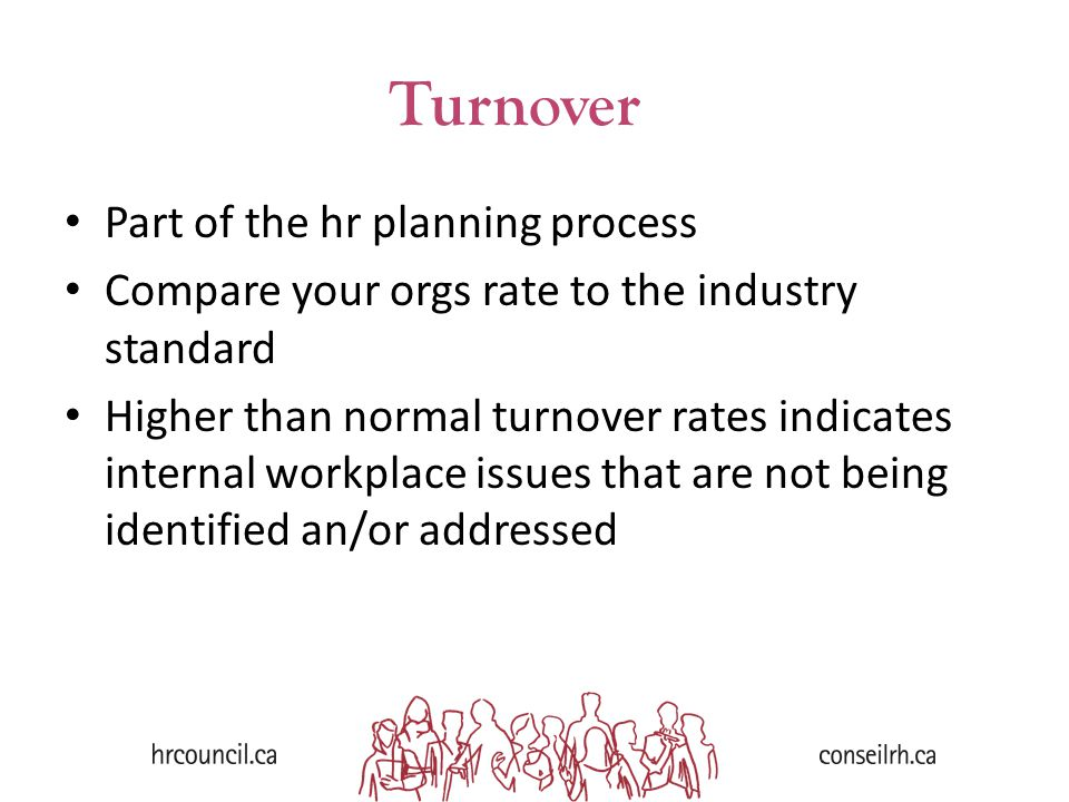 Part of the hr planning process Compare your orgs rate to the industry standard Higher than normal turnover rates indicates internal workplace issues