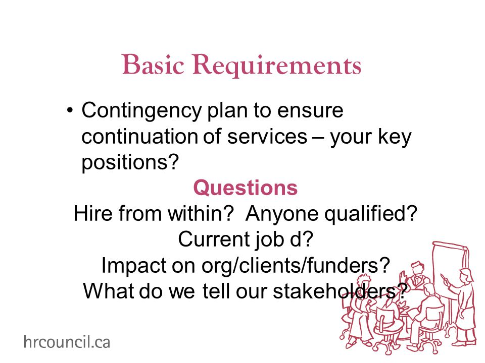 Basic Requirements Contingency plan to ensure continuation of services – your key positions? Questions Hire from within? Anyone qualified? Current job