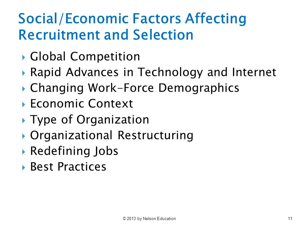 © 2013 by Nelson Education11  Global Competition  Rapid Advances in Technology and Internet  Changing Work-Force Demographics  Economic Context  Type of Organization  Organizational Restructuring  Redefining Jobs  Best Practices Social/Economic Factors Affecting Recruitment and Selection