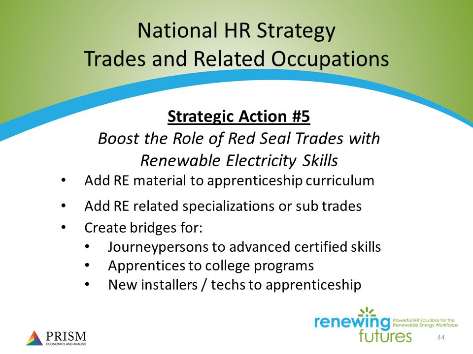 44 National HR Strategy Trades and Related Occupations Strategic Action #5 Boost the Role of Red Seal Trades with Renewable Electricity Skills Add RE material to apprenticeship curriculum Add RE related specializations or sub trades Create bridges for: Journeypersons to advanced certified skills Apprentices to college programs New installers / techs to apprenticeship