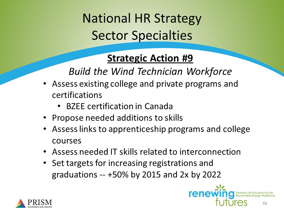 48 National HR Strategy Sector Specialties Strategic Action #9 Build the Wind Technician Workforce Assess existing college and private programs and certifications BZEE certification in Canada Propose needed additions to skills Assess links to apprenticeship programs and college courses Assess needed IT skills related to interconnection Set targets for increasing registrations and graduations % by 2015 and 2x by 2022