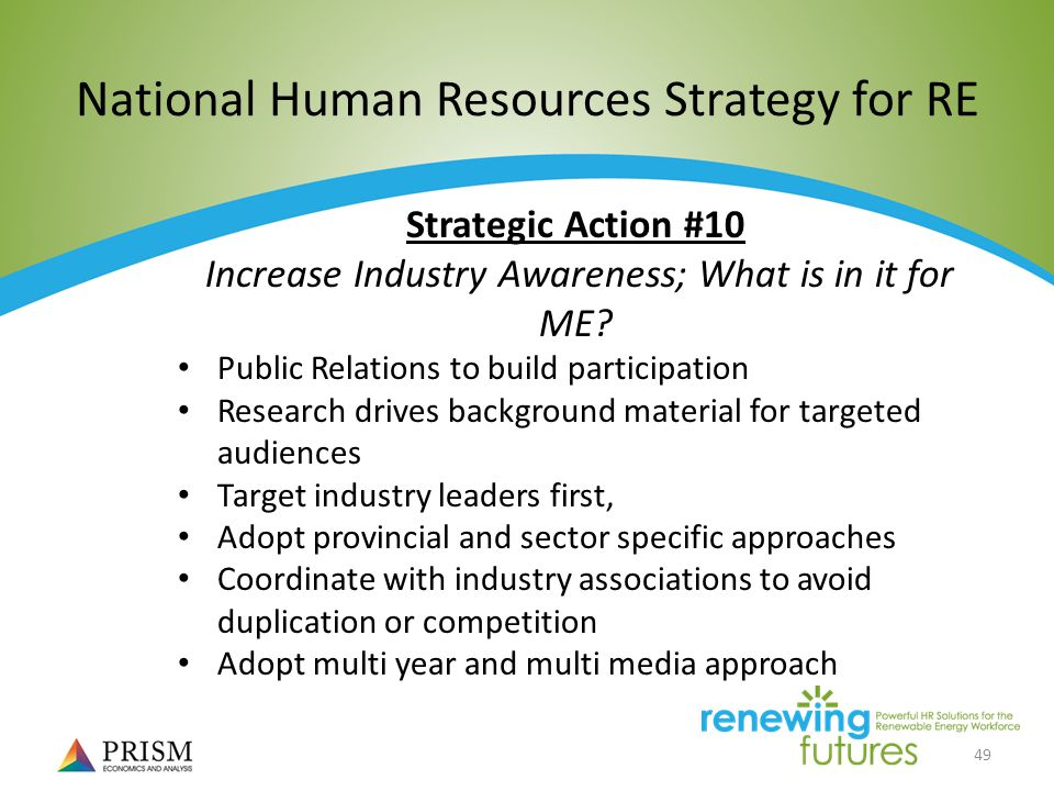 49 National Human Resources Strategy for RE Strategic Action #10 Increase Industry Awareness; What is in it for ME.