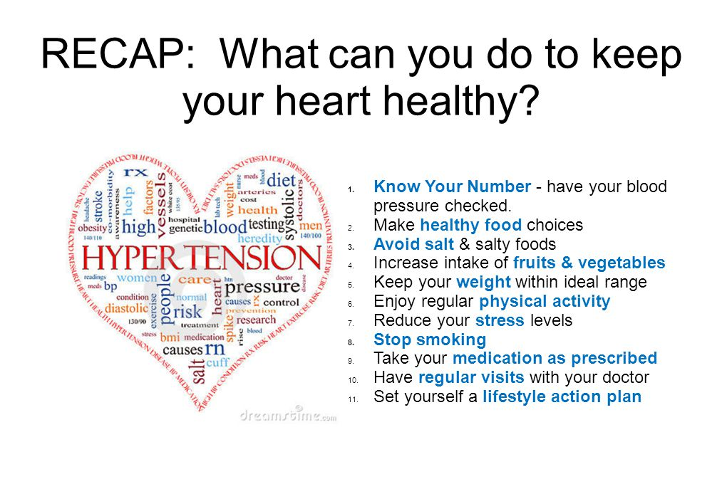 RECAP: What can you do to keep your heart healthy.