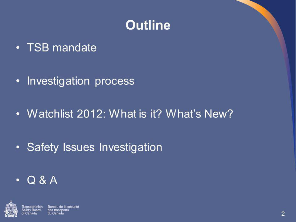 2 TSB mandate Investigation process Watchlist 2012: What is it.