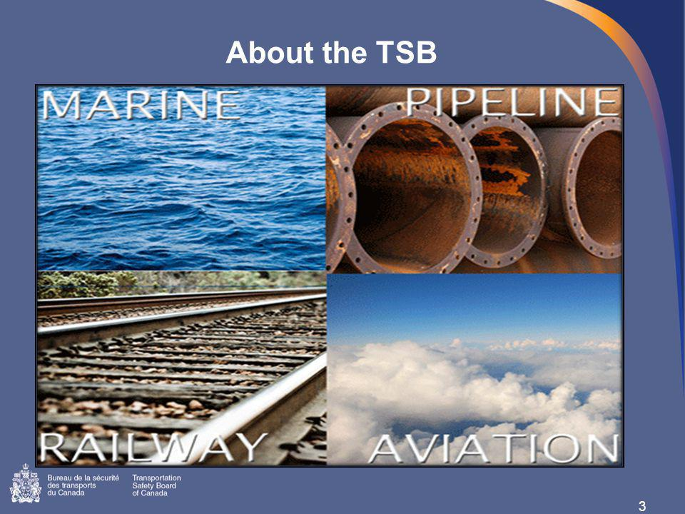TSB Investigations 4 4000+ occurrences reported annually All occurrences tracked in database Marine Branch: 544 reportable marine incidents and accidents in 2011 (20 fatalities) 2011: 10 investigations started, 14 safety letters, 2 Board recommendations