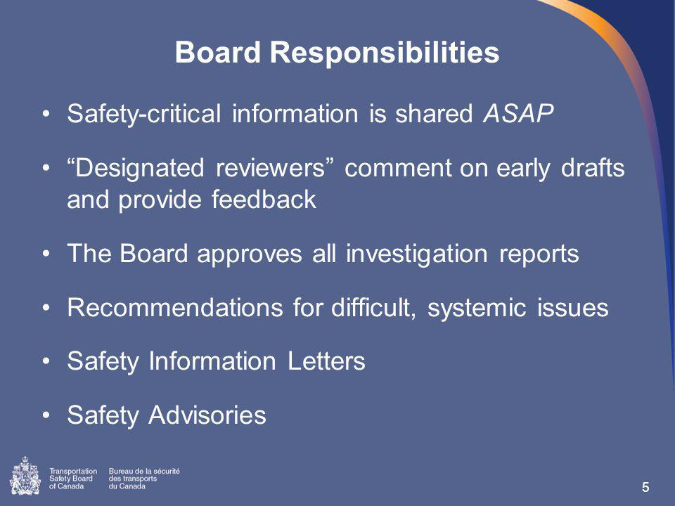 Board Responsibilities Safety-critical information is shared ASAP Designated reviewers comment on early drafts and provide feedback The Board approves all investigation reports Recommendations for difficult, systemic issues Safety Information Letters Safety Advisories 5