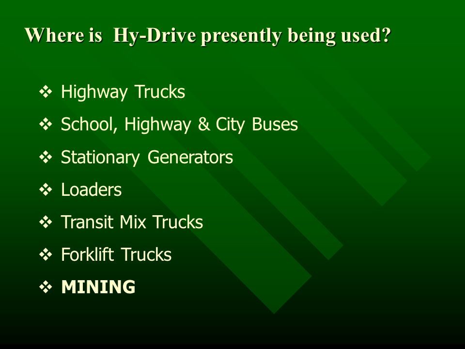 Where is Hy-Drive presently being used.